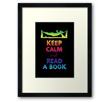 KEEP CALM AND READ A BOOK (RAINBOW) Framed Print