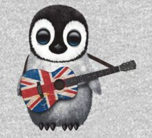Baby Penguin Playing British Flag Guitar Kids Clothes