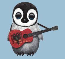 Baby Penguin Playing Albanian Flag Guitar Kids Clothes