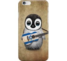 Baby Penguin Playing Israeli Flag Guitar iPhone Case/Skin
