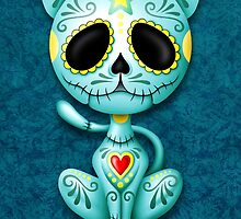 Blue Zombie Sugar Kitten Cat by Jeff Bartels