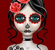 Sad Day of the Dead Girl on Red by Jeff Bartels