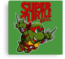 Super Turtle Bros - Raph Canvas Print