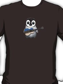 Baby Penguin Playing Estonian Flag Guitar T-Shirt
