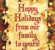 Holiday Parchment Christmas Card - Happy Holidays by solnoirstudios