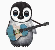 Baby Penguin Playing Guatemalan Flag Guitar Kids Clothes
