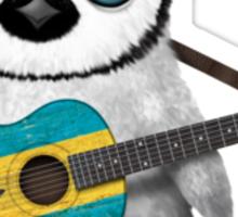 Baby Penguin Playing Bahamas Flag Guitar Sticker