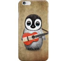 Baby Penguin Playing Austrian Flag Guitar iPhone Case/Skin