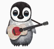 Baby Penguin Playing Japanese Flag Guitar Kids Clothes