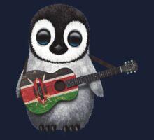 Baby Penguin Playing Kenyan Flag Guitar Kids Clothes