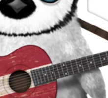 Baby Penguin Playing Latvian Flag Guitar Sticker