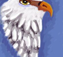 beautiful eagle on blue background by Ann-Julia