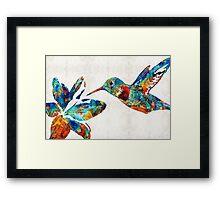 Colorful Hummingbird Art by Sharon Cummings Framed Print