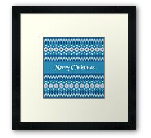 Merry Christmas Greeting Card on Winter Geometric Ornament Pattern Background in Blue and White from Knitted Fabric with Words Framed Print