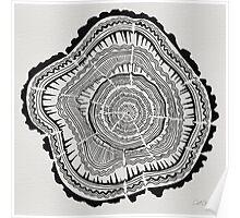 Tree Rings – Black on White Poster