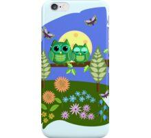 Cute Owls in Fantasy Summer Land iPhone Case/Skin