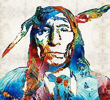 Native American Art - Warrior - By Sharon Cummings by Sharon Cummings