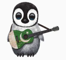 Baby Penguin Playing Pakistani Flag Guitar Kids Clothes