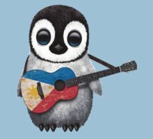 Baby Penguin Playing Filipino Flag Guitar Kids Clothes