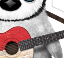 Baby Penguin Playing Singapore Flag Guitar Sticker