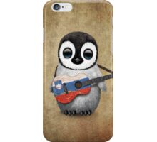 Baby Penguin Playing Slovenian Flag Guitar iPhone Case/Skin