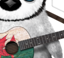 Baby Penguin Playing Welsh Flag Guitar Sticker