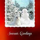 Snowdrop the Maltese Christmas Card by Morag Bates