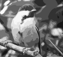 """Birds story, the Black and White """" fawn paint Picasso ! """"  the Blue Tit - Olao-Olavia by Okaio Créations  by okaio caillaud olivier"""