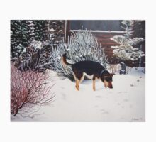 Winter snow scene with cute black and tan dog  Kids Clothes