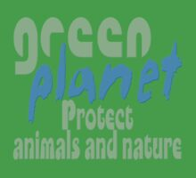green planet - protect animals and nature Kids Clothes