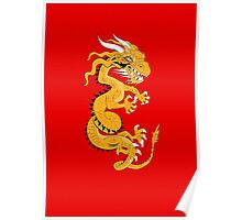 Golden Dragon on Red Poster