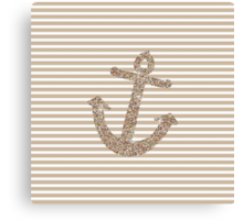 Gold Stripes Nautical Anchor Canvas Print