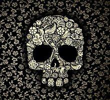 Sugar Skull With Flower Pattern by Latifa Salma lufa Poerawidjaja