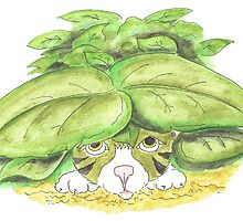 Kitten hiding in bushes by Susan Day