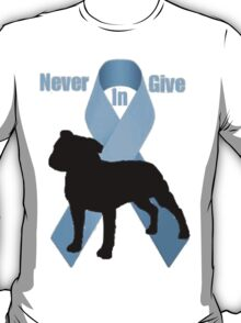 Staffie Bull logo- Bulldoggers Against Prostate Cancer T-Shirt