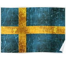 Vintage Aged and Scratched Swedish Flag Poster