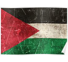 Vintage Aged and Scratched Palestinian Flag Poster