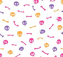 Colorful Cartoon Skulls on White Background Seamless Pattern by Voysla