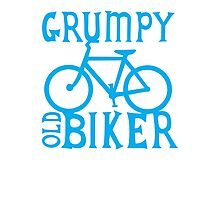 Grumpy old Biker with cycle riding bike bicycle Photographic Print