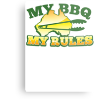 MY BBQ (barbecue) MY RULES Aussie Australian flag and tongs Metal Print