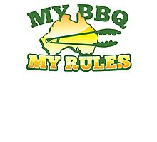 MY BBQ (barbecue) MY RULES Aussie Australian flag and tongs Photographic Print