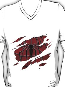 Spider inside red suit ripped torn T-Shirt