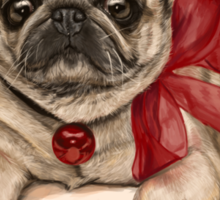Christmas pug with a red bow  Sticker