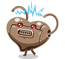 Valentines hearts angry robot Photographic Print