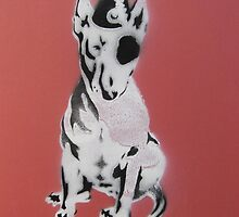 Red Graffiti English Bull Terrier by threebrownhares