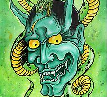 Hannya Mask and Snake  by SevenSinsTattoo