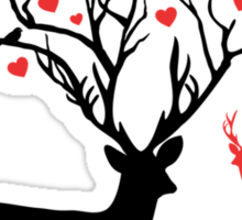 Oh my deer, stag with red hearts, design for Valentine's day, Christmas Sticker