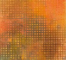Watercolor Abstraction: Orange Grid Texture by Megan  Koth