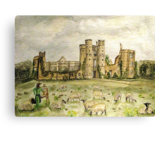 Plein Air Painting At Cowdray House Ruins Sussex Canvas Print