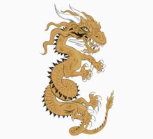 Golden Dragon on Red Kids Clothes